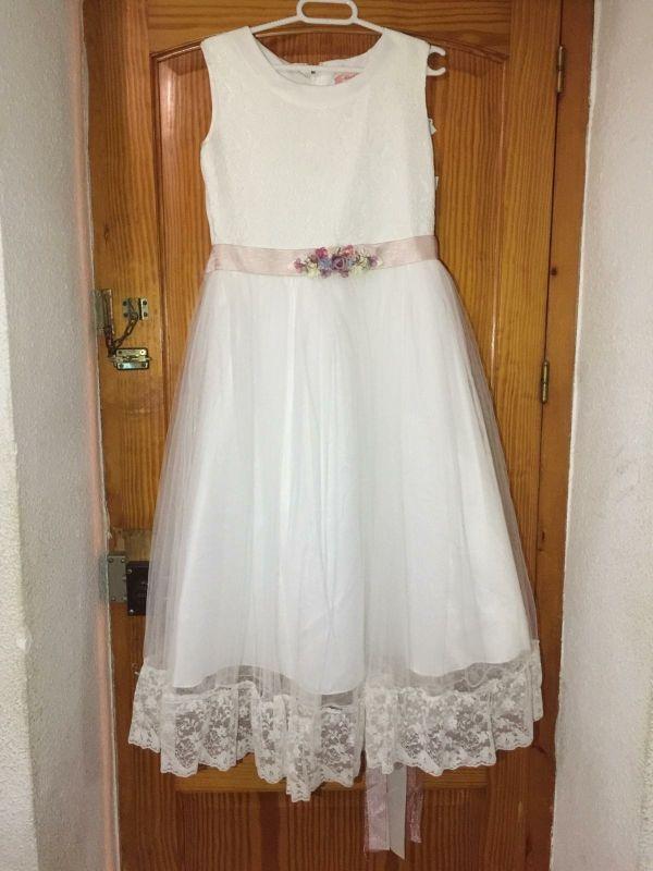 vestido de primera comunión + zapatos + tocado