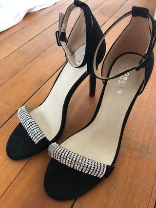 Sandales à talon avec bride à strass Morgan en noir pour
