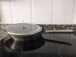 Sarten acero inox 18/10, 28 cm, tapa cristal y a.i