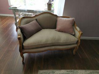 Sofá Vintage de madera maciza y lino