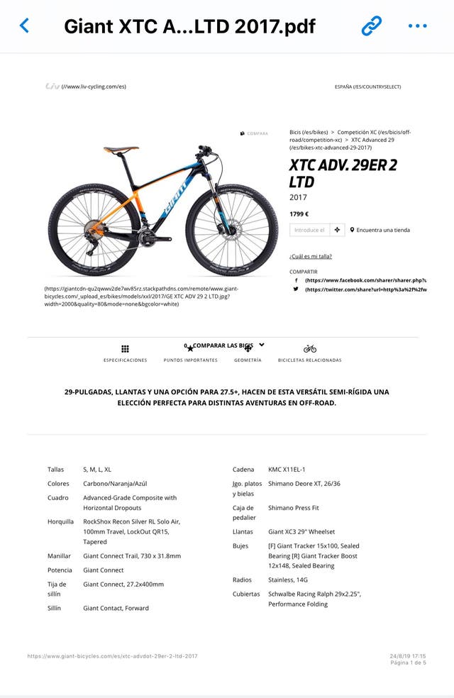 Giant XTC Adv. 29ER 2 LTD Carbono talla S