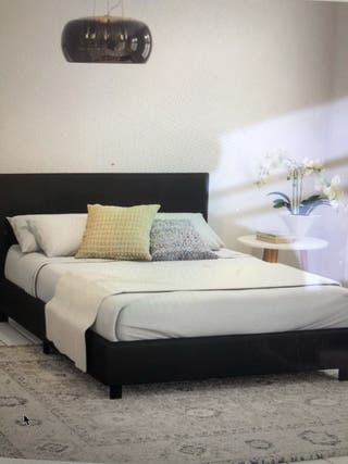 Double Upholstered Bed Frame In Black