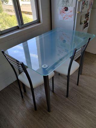 Mesa de cocina moderna + 2 sillas