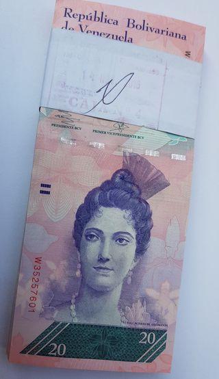 100 Billetes Venezuela UNC 20 Bolívares SC