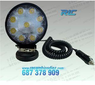 Foco LED 27W + iman para coche, camión, quad o mot