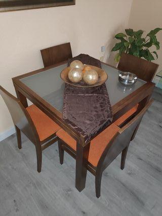 Mesa salón abatible con 4 sillas