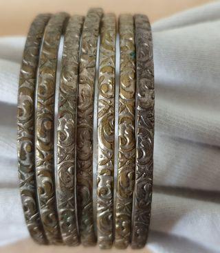 7 pulseras plateadas antiguas 6cm diámetro