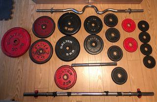 Pesas y barras para gimnasio. Total 78kg