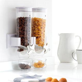 Dispensador doble de cereales para pared