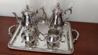 Juego de té alpahaca bañado en plata