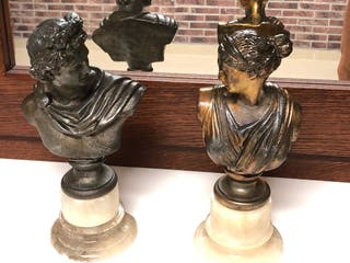Antiguos bustos emperador/a romanos bronce.