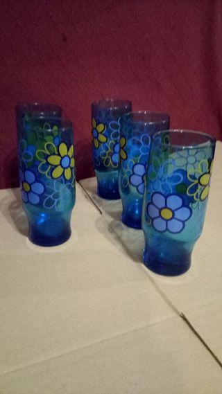 5 Vasos de Cristal grueso decorados.