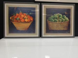 Conjunto 2 cuadros cestos fruta