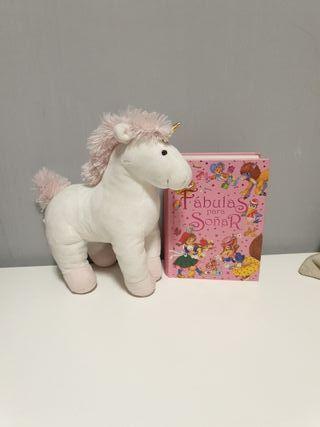 Peluche unicornio y libro Fabulas para soñar.