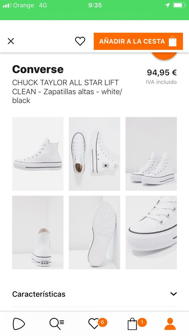All star plataforma piel blancas