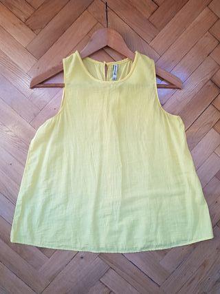 Camiseta o blusa tirantes amarilla talla S