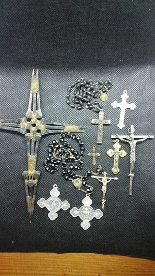 Lote objetos antiguos religiosos