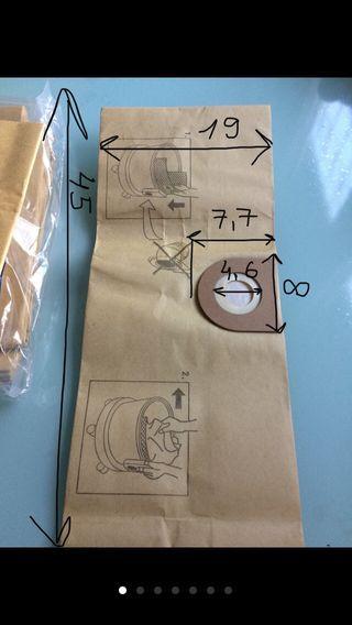 Filtros de papel para aspirador con bolsa.