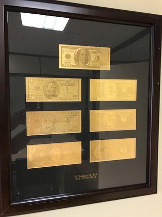 Cuadro billetes dólar en oro 999.9