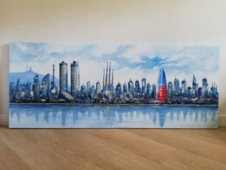 Cuadro pintura óleo Skyline Barcelona 150cm x 60cm