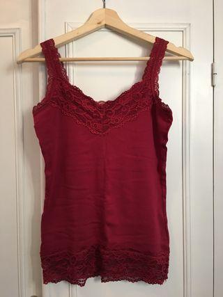 Blusa Camiseta Encaje Roja