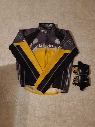 Chaqueta bici invierno y guantes Talla XL