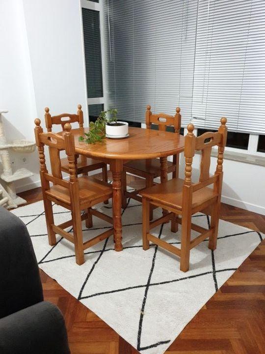 OFERTA Mesa comedor + 4 sillas madera pino macizo de segunda ...