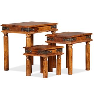 vidaXL Set de 3 mesitas apilables de madera 244355