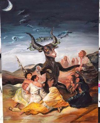 Cuadro A mano réplica El grán cabrón de Goya