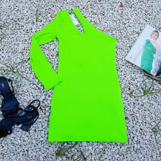 Vestido verde fluor asimétrico Berskha