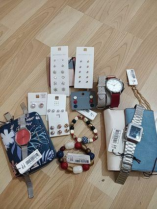 pendientes+relojes+ colar+pulseras