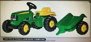 Tractor de pedales Jonh Deere y Remolque