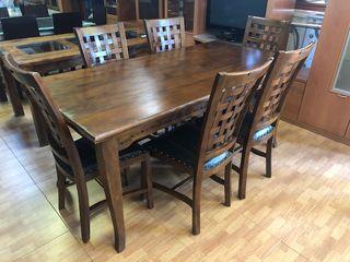 Conjunto mesa madera + 6 sillas macizas