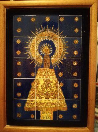Virgen del Pilar, cuadro hecho con cerámicas