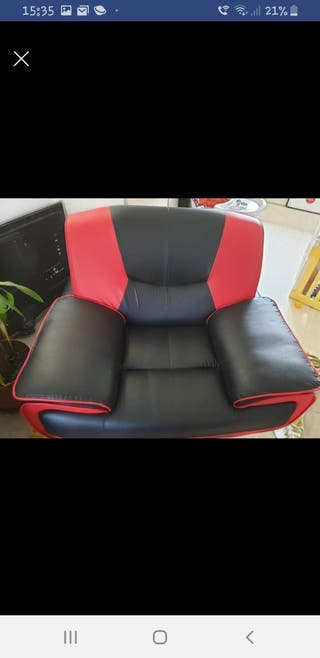 black and red faux leather chair.