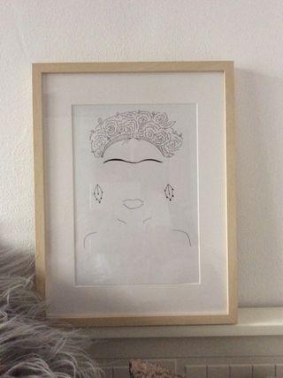 Cuadro dibujo lámina Frida Kahlo