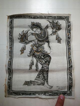 Pintura hecha a mano, estilo batik. Bali