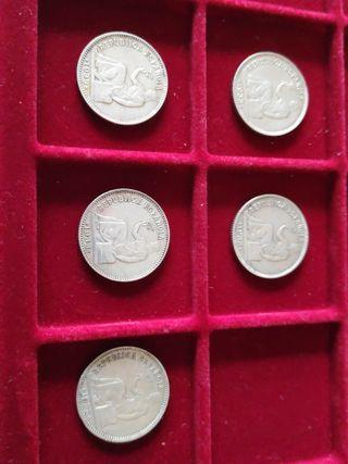 Lote 5 monedas plata 1 peseta 1933 República
