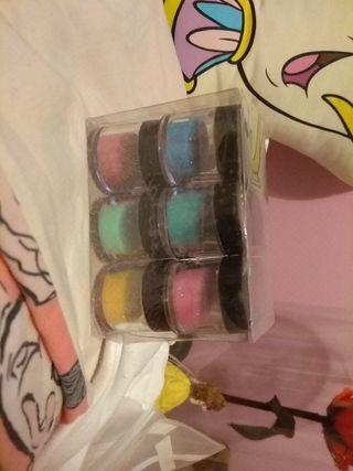 brillos de colores para añadir a la porcelana