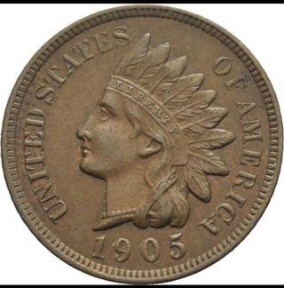 moneda de 1 centavo Indian 1905