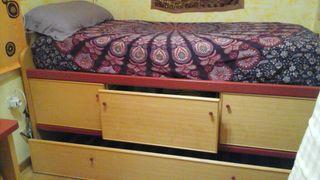 cama de 90 con cajoneras y cama supletoria