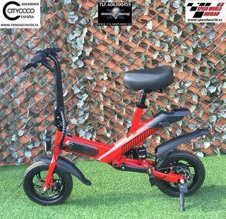"bicicleta plegable 12"" 350W Blanca,Negra ó Roja"