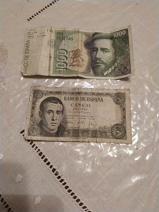 billete de mil pesetas y de cinco