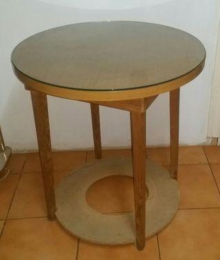 Mesa camilla con cristal de 70 diámetro