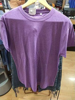 camiseta manga corta algodón colores jaspeados