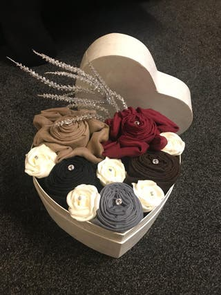 Heart shaped flower box with hijabs