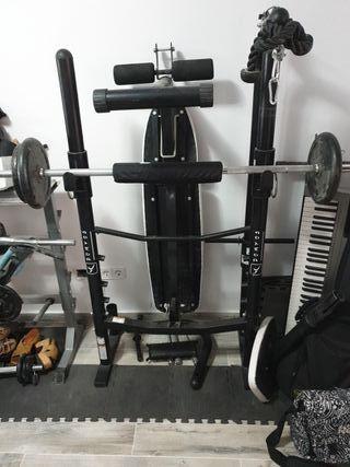 banco de pesas, gym completo