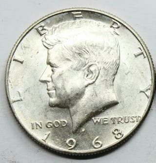medio dolar de plata Kennedy 1968