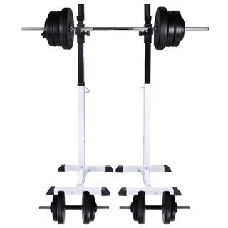 Soporte de pesas con pesas y mancuernas 60,5 kg