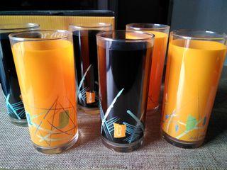 Juego seis vasos decorados